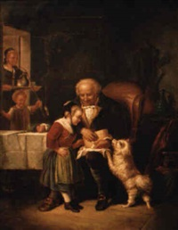 white dog with front legs on lap of gentleman by julius adam the elder