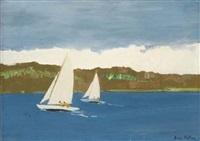deux voiliers devant la côte by jean helleu
