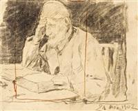 grossvater (+ skizzen einer hand, verso) by albert anker