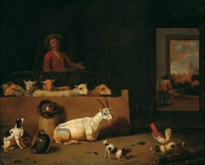 scheuneninterieur mit ziegen hunden federvieh und einem hirten by hubert van ravesteyn