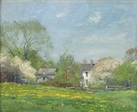in may, spring landscape with houses by alexis jean fournier