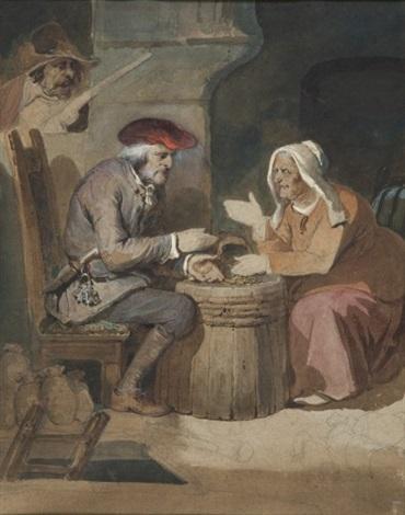 lavare et sa femme surpris par un bandit by nicolas toussaint charlet