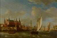 paysage de rivière avec un château sur la gauche et des navires hollandais quittant le port by jacobus storck