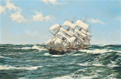 the american clipper gem of the ocean belting across the ocean in a steady breeze by montague dawson