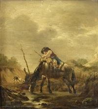 paysage avec un homme prêt à monter sur un cheval by pieter cornelius verbeeck
