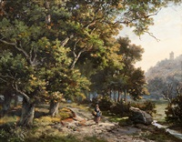 on a path on the edge of a forest by hendrik barend koekkoek