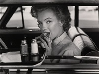 marilyn at the drive-in from halsman/marilyn portfolio by philippe halsman