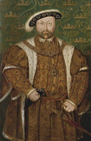 portrait of king henry viii 1491 1547 three quarter length in an ermine trimmed coat and jewel encrusted feathered cap by hans holbein the younger