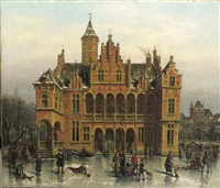 winterscene with skaters in front of a grand hall by victor vervloet