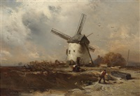 landscape with windmill and decorative figures by charles hoguet