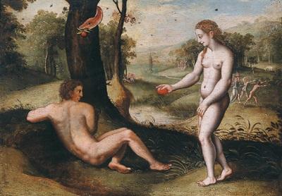 adam und eva unter dem baum der erkenntnis by michiel coxie the elder