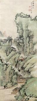 树青绿山水 by liang yuwei