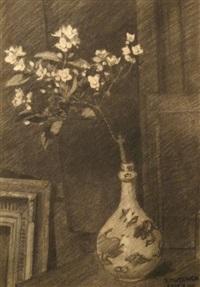 nature morte au cadre et branche de cerisier en fleur by samuel mützner