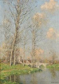 paysage au pont by marcel adolphe bain