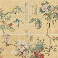 花卉 (4 works on 1 scroll) by tang shishu