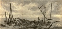 two small ships and the skeleton of a boat at sea by jan de momper