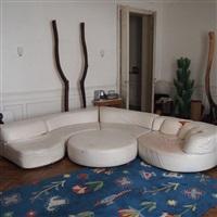 rare ensemble de salon, composé de 4 éléments modulables + pouf, modèle bogo by carlo bartoli
