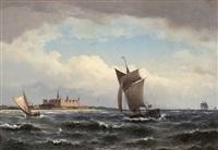 segelschiffe vor schloss kronborg by carl buntzen