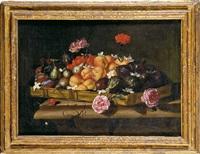 bodegón con bandeja de frutas y flores by giuseppe recco