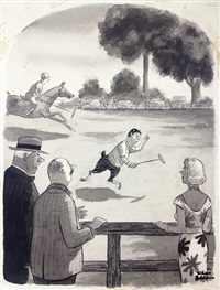 pan winking at woman during polo game by charles addams