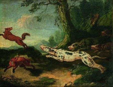 scène de chasse à courre au renard by carl borromaus andreas ruthart