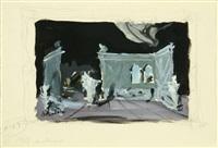 set design for ballet les elements, music by bach, choreography by fokin (ballet russe de monte-carlo, london, 1937) by dimitri bouchene