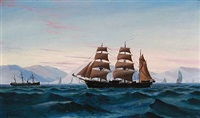 seascape with sailing ships by c. andersen