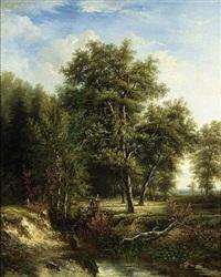 figures on a path in a wooded landscape by hermanus jan hendrik rijkelijkhuysen