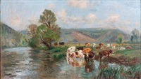 vaches s'abreuvant by raymond (louis) le court