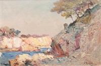 pécheur en bord de côte by louis nattero