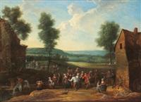 feiernde und tanzende bauern in einer landschaft by jean antoine de poorter