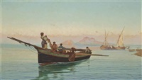 fishing vessels on the coast, naples by pietro barucci