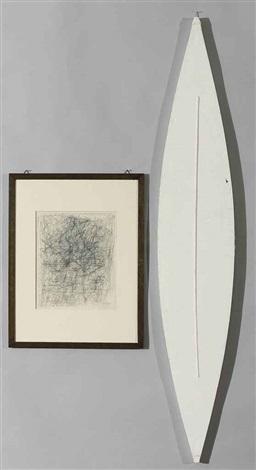 im geiste der renaissance (+ bespannte zweieckform, 1969, paper over wood, lrgr; 2 works) by lenz klotz