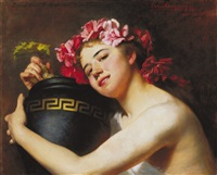 girl with jar and rose wreath by erzsébet (elizabeth) angyalffy