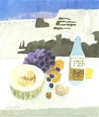 still life with fruit and a bottle unframed by mary fedden