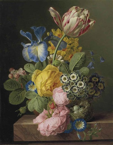 a vase of flowers with a birds nest on a marble ledge by jan frans van dael