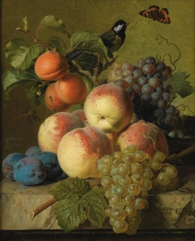 stll life of peaches, grapes and plums on a stone ledge with a bird and butterfly by jan frans van dael