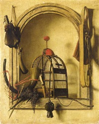 a trompe l'oeil of hunting equipment by christoffel pierson