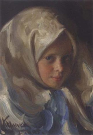 young girl in blue headscarf by ivan semionovich kulikov