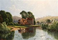 figures in a punt in a summer landscape by edwin henry boddington