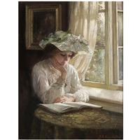 lady reading by a window by thomas benjamin kennington