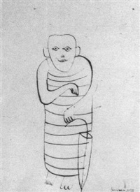 mann mit regenschirm by hans fischli