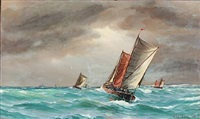 seascape with sailing boats by vilhelm victor bille