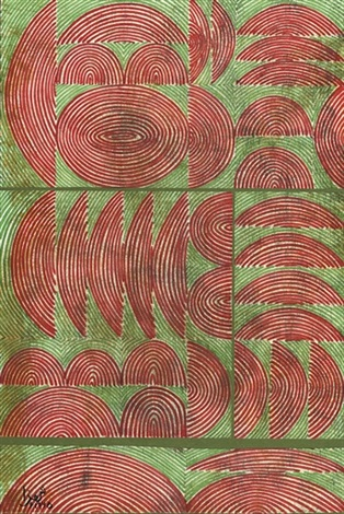 untitled - linear composition in red and green by anwar jelal shemza
