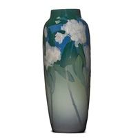 iris vase with rhododendron by j. d. wareham