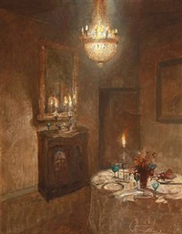 interior with a dinner table by harry kluge