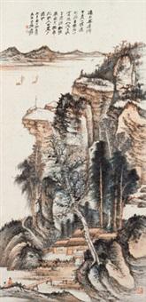 拟石溪溪山留客图 镜心 设色纸本 by zhang daqian