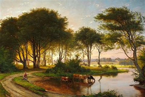 danish summer landscape with two girls watering the cows in a stream in the background sunny fields and farms by carl frederik peder aagaard