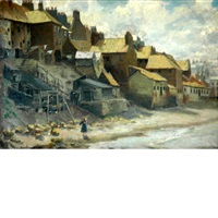 along the shore, whitby (+ the boat builders yard, at lyme regis; 2 works) by frank lewis emanuel