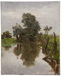 landscape with a pond by hermann hartwich
